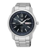 Seiko 5 Men's Classic Silver Stainless Steel Band Automatic Watch SNKP17K1 (Silver & Dark Blue)