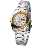 Seiko SYMH74J1 Automatic 21 Jewels White Dial Gold Tone Case With Gold And Stainless Steel Bracelet (Silver & Gold)