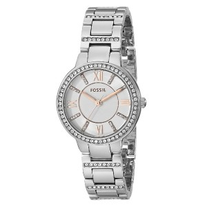 Fossil ES3741 Virginia Three Hand Stainless Steel Watch (Silver)
