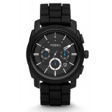 Fossil FS4487 Machine Chronograph Silicone Watch (Black)