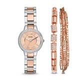 Fossil Women's ES4137SET Virgina & Bracelet Set Stainless Steel Watch (Silver & Rose Gold)