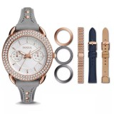 Fossil Women's ES4056SET Tailor Multifunction Leather and Stainless Steel Box Set (Multi-colour)