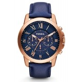 Fossil FS4835 Grant Chronograph Leather Watch (Blue)(44)