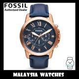 (OFFICIAL WARRANTY) Fossil Men's FS4835IE Grant Chronograph Navy Leather Watch FS4835 (2 Years International Warranty)