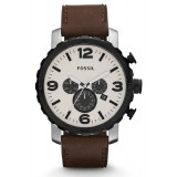 Fossil JR1390 Nate Chronograph Leather Watch (Brown)