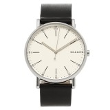 Skagen Men's SKW6353 Signature White Dial Leather Watch (Black)