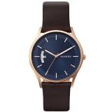 Skagen Men's SKW6395 Holst Blue Dial Leather Watch (Dark Brown)
