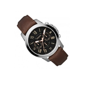Fossil Men's Grant Chronograph Brown Leather Strap Watch FS813 (100% Original)