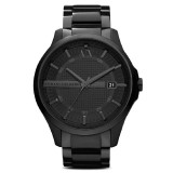 Armani Exchange Men's AX2104 Hampton Black Dial Black Ion-plated Stainless Steel Watch (Black)