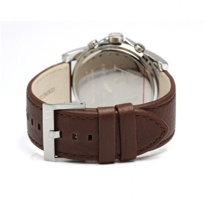 Armani Exchange Men s AX2501 Chronograph Blue Dial Brown Leather Watch ( Brown) 0b2636733312d
