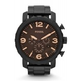 Fossil JR1356 Nate Chronograph Stainless Steel Watch (Black)