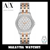 (100% Original) Armani Exchange Ladies' AX5249 Hampton Silver Quilted Dial Two-Tone Stainless Steel Watch (2 Years International Warranty)