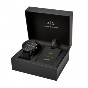 Armani Exchange Men's AX7105 Luggage Tag Gift Set Chronograph Watch (Black)