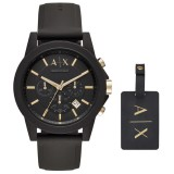 Armani Exchange Men's AX7105 Luggage Tag Gift Set Chronograph Watch (Black)