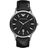 Emporio Armani Men's AR2411 Black Dial Black Leather Watch (Black)