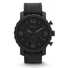 Fossil JR1354 Nate Chronograph Leather Watch (Black)