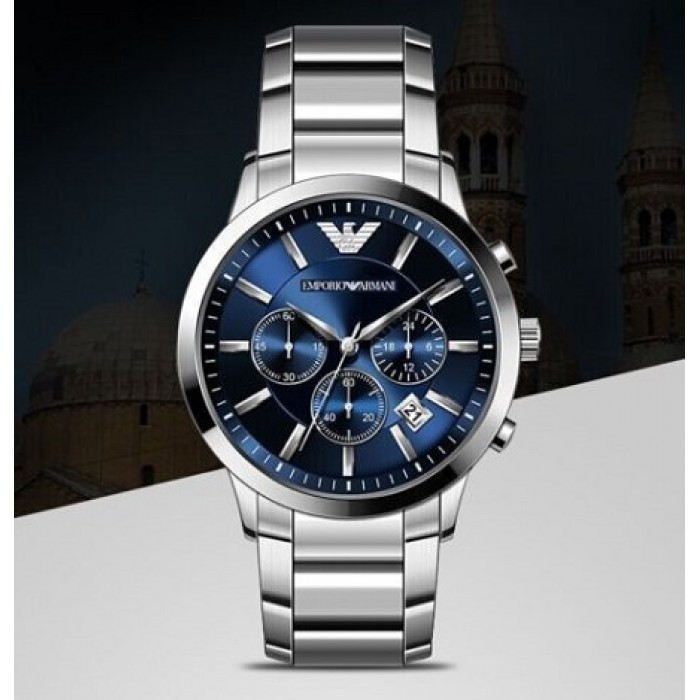 f5d5955dbca Emporio Armani Men s AR2448 Chronograph Navy Blue Dial Stainless Steel Watch  (Silver)