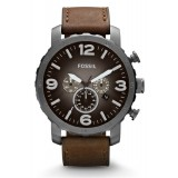 Fossil JR1424 Nate Chronograph Leather Watch (Brown)
