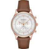 Emporio Armani Men's AR11043 Silver Dial Men's Chronograph Leather Watch (Brown)