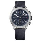 Tommy Hilfiger Men's 1791346 Black Dial Dark Blue Leather Watch (Dark Blue)