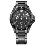 Tommy Hilfiger Men's 1791393 Ian Black Dial Stainless Steel Watch (Black)