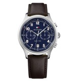 Tommy Hilfiger Men's 1791385 Emerson Multifunction Dark Brown Leather Watch (Dark Brown)