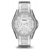 Fossil ES3202 Riley Multifunction Stainless Steel Watch (Silver)