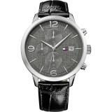 Tommy Hilfiger Men's 1710361 Liam  Multifunction Black Leather Watch (Black)