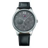 Tommy Hilfiger Men's 1791417 Damon Multifunction Black Leather Watch (Black)