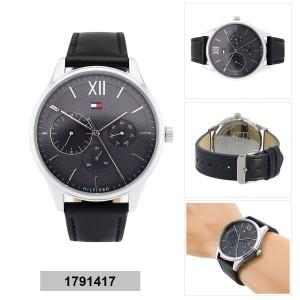 Tommy Hilfiger Men's 1791417 Damon Multifunction Black Leather Watch (Black)