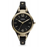 Fossil ES3148 Georgia Mini Three Hand Leather Watch (Black)