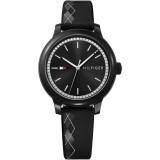 Tommy Hilfiger Ladies' 1781815 Ashley Black Rubber Strap Watch (Black)