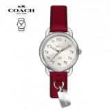 (100% ORIGINAL) Coach Ladies' 14502814 Delancey Red Leather Watch TWO (2) Years International Warranty (Red)