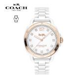 (100% ORIGINAL) Coach Ladies' 14502752 Tatum Analog Ceramic Watch TWO (2) Years International Warranty (White)