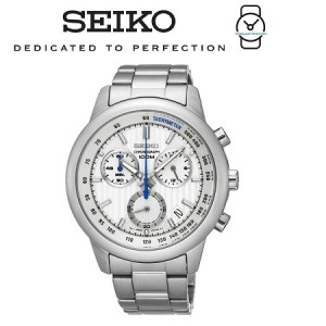 Seiko Men's Chronograph White Dial Stainless Steel Band Watch SSB203P1 (Silver)