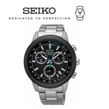 Seiko Men's Chronograph Black Dial Stainless Steel Band Watch SSB217P1 (Silver)