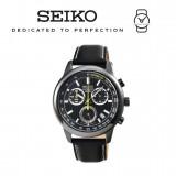 Seiko Men's Chronograph Black Dial Black Leather Watch SSB213P1 (Black)