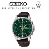 Seiko Men's Chronograph Green Dial Black Leather Watch SNAF09P1 (Black)