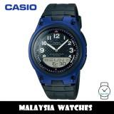 (100% Original) Casio AW-80-2B Telememo 10 YEARS BATTERY LIFE Analog Digital Black & Blue Resin Watch AW802B AW80-2B AW-80-2BV AW-80-2BVDF