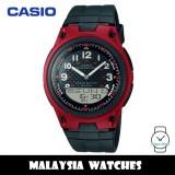 (100% Original) Casio AW-80-4B Telememo 10 YEARS BATTERY LIFE Black & Red Resin Watch AW804B AW80-4B AW-80-4BV AW-80-4BVDF