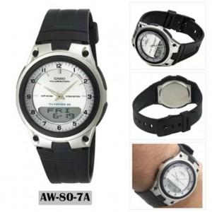 (100% Original) Casio AW-80-7A Telememo 10 YEARS BATTERY LIFE Black & Silver Resin Watch AW807A AW80-7A AW-80-7AV AW-80-7AVDF