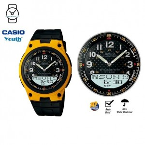 Casio AW-80-9BVDF Telememo 10 YEARS BATTERY LIFE Black & Yellow Resin Watch (Free Shipping)
