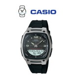 Casio AW-81-1A1VDF Telememo 10 YEARS BATTERY LIFE Black & Silver Resin Watch (Free Shipping)