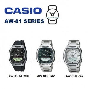 Casio AW-81D-1AV Telememo 10 YEARS BATTERY LIFE Silver Stainless Steel Watch (Free Shipping)