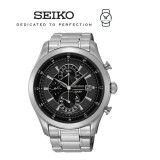 Seiko Men's Chronograph Black Dial Stainless Steel Band Watch SPC167P1 (Silver)