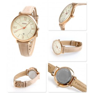 (OFFICIAL WARRANTY) Fossil ES3487 Jacqueline Three Hand Sand Leather Watch (2 Years International Warranty)