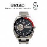 Seiko 5 Sports SSA329K1 Gents Automatic Open Heart Stainless Steel Watch (Silver & Red)