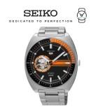 Seiko 5 Sports SSA331K1 Gents Automatic Open Heart Stainless Steel Watch (Silver & Orange)