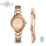 Fossil Women ES4337SET Blane Three-Hand Rose Gold Stainless Steel Watch & Jewelry Gift Set (Rose Gold)