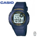 Casio Men's F-200W-2B Standard Digital 10-YEAR BATTERY Navy & Yellow Resin Watch (Free Shipping)
